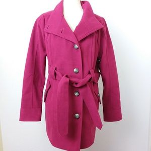 BB Dakota XL Coat Fuchia Pink Belted Lined